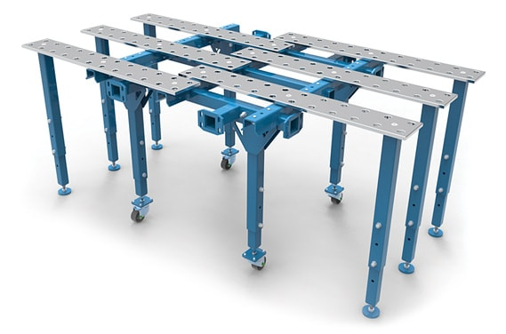 Single modular unfoldable welding table.
