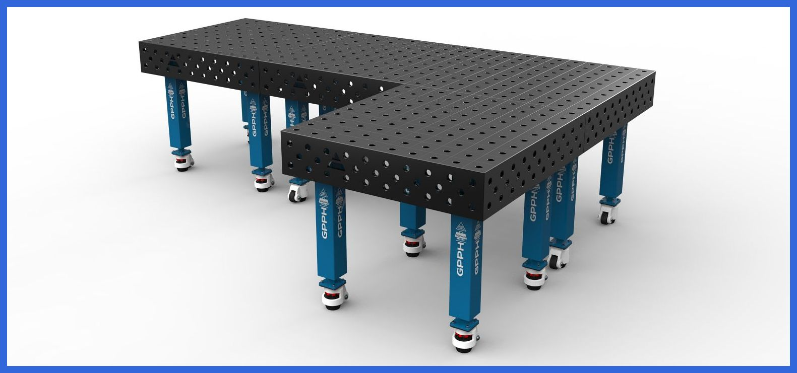 Tables can be combined freely to extend a working surface.