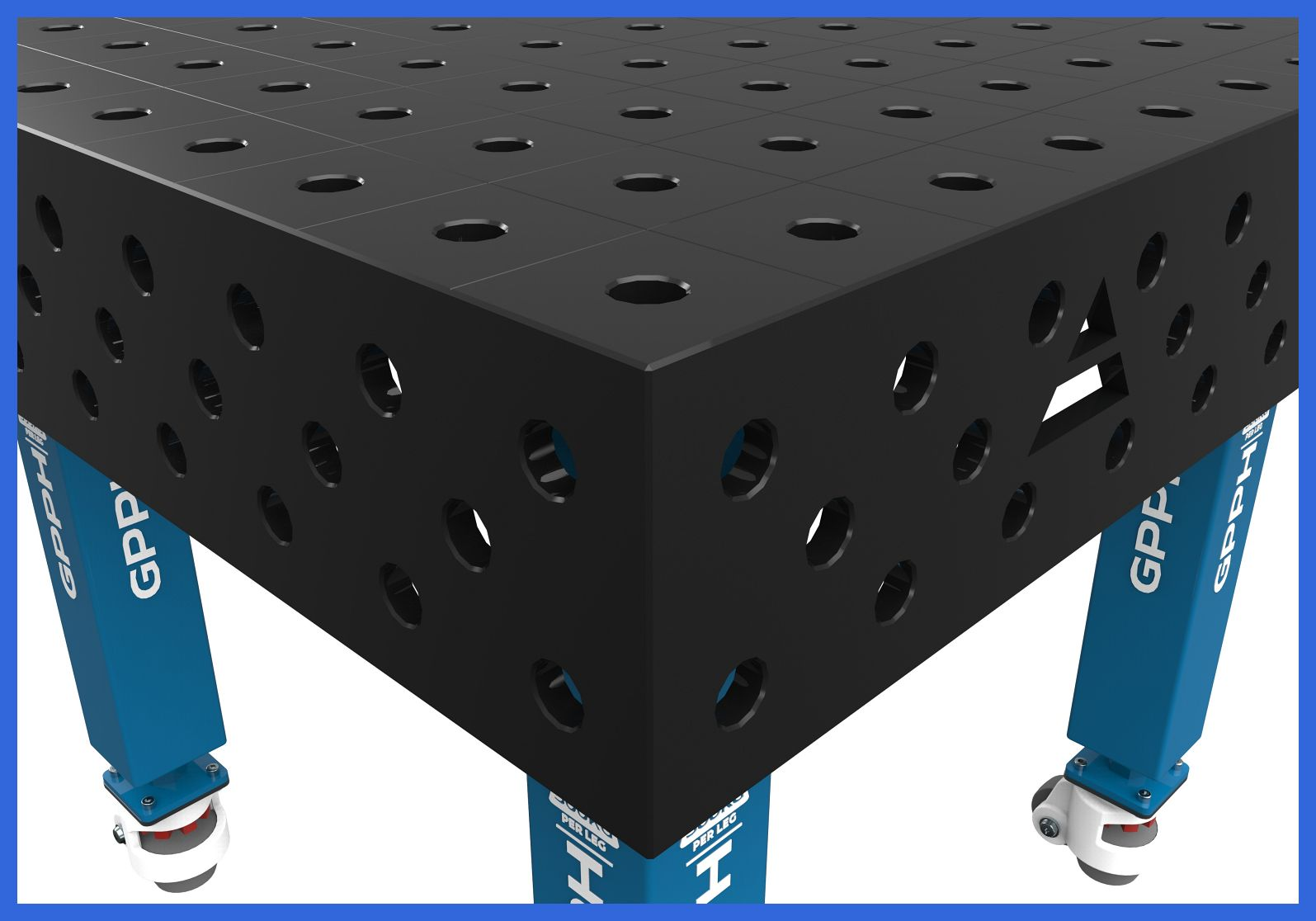 Three grids of holes on the four sides of the table.