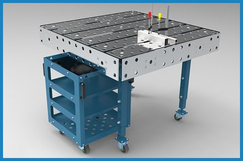 Single modular welding tables with optional side plates.